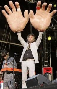Wayne Coyne, lead singer of The Flaming Lips, after being stung by bees.
